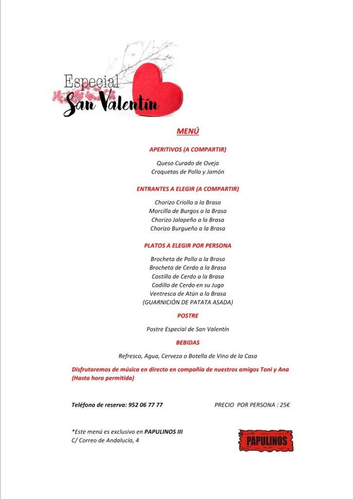 Menú San Valentín (Papulinos III)